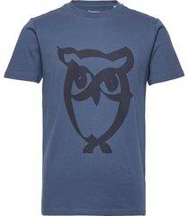 alder brused owl tee - gots/vegan t-shirts short-sleeved blå knowledge cotton apparel