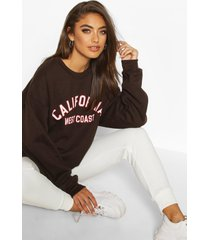 california slogan oversized sweatshirt, chocolate