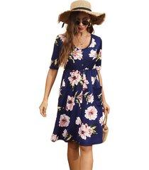 vestido de gasa de media manga vestido de verano con cuello vestido mujer