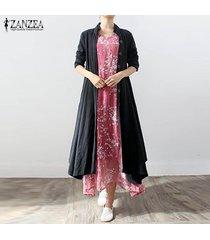 zanzea algodón de lino de las mujeres collar del soporte de la capa botones negro de manga larga larga asimétrica -negro