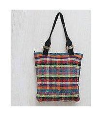 wool tote handbag, 'color palette' (peru)