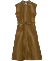 linen belted dress in military green stripe