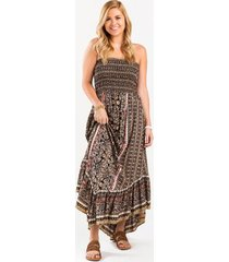 contessa smocked top maxi dress - black