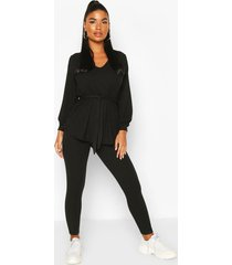 petite knitted soft rib legging co-ord, black
