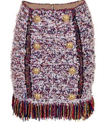 button front fringe tweed skirt