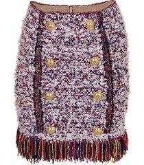button front fringe tweed skirt