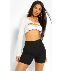 'missouri' underbust shaped graphic crop top, white