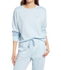 women's splendid women's eco crewneck sweatshirt, size large - blue