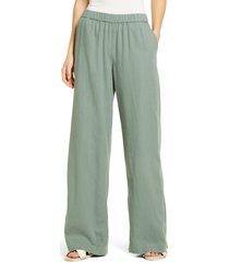 women's caslon wide leg pull-on pants, size large - green