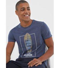 camiseta sergio k lettering azul-marinho - kanui