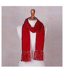 cable knit scarf, 'soft winter red' (peru)