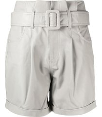 federica tosi belted high waisted shorts - grey