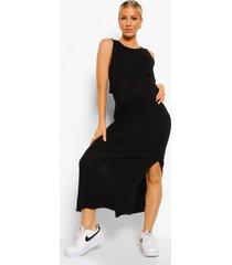 zwangerschap borstvoeding midi jurk met laagjes, black