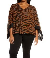 plus size women's michael michael kors animal stripe poncho top, size 1x - brown