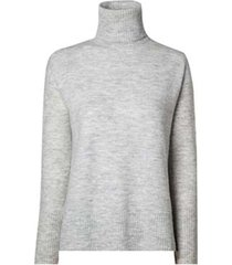 blusa dudalina tricot manga longa gola alta degrau barra feminina (cinza mescla medio, gg)