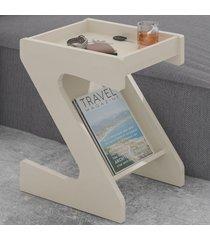 mesa de canto zeus com nicho off white - artely