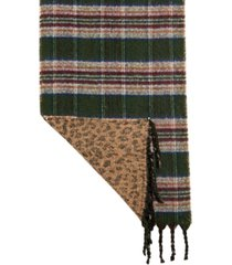 steve madden plaid & animal print reversible blanket scarf