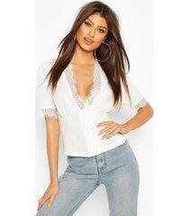 geweven kanten blouse met knoopsluiting, wit