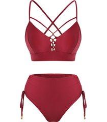 criss cross cinched high waisted bikini swimwear