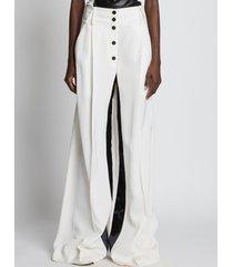 proenza schouler silk viscose tuxedo pants ecru/neutrals 0