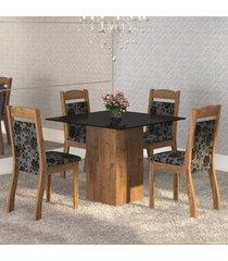 mesa de jantar 4 lugares brilho dover/cobre/preto - mobilarte