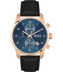 boss men's chronograph skymaster black leather strap watch 44mm