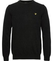 crew neck lambswool blend jumper stickad tröja m. rund krage svart lyle & scott