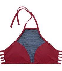 bikini estilo sostén con transparencia rojo samia