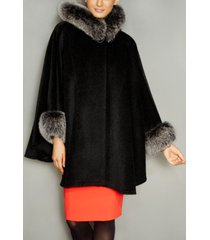 the fur vault fox-trim wool-alpaca-blend hooded cape
