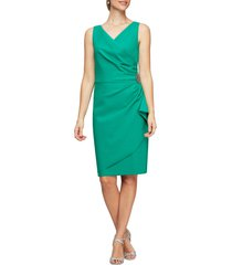 women's alex evenings side ruched cocktail dress, size 6 - green
