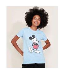 t-shirt feminina mindset mickey manga curta decote redondo azul claro