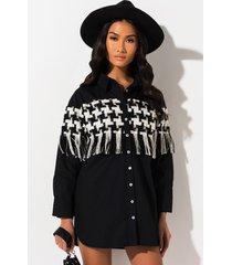 akira checkmate button down blouse