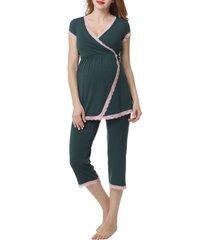 women's kimi and kai cindy nursing/maternity pajamas, size x-large - green