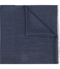 brunello cucinelli frayed-edge scarf - blue