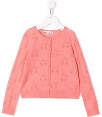 bonpoint cherry knit cardigan - pink