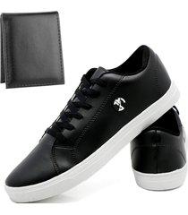 kit sapatenis sapato casual com carteira slim joã£o mello bã¡sico masculino preto - preto - masculino - couro sintã©tico - dafiti
