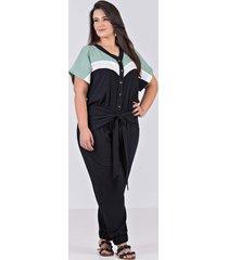 macacão com recortes e amarração em viscolhinho com elastano, preto - plus size - kanui