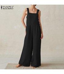 zanzea verano de las mujeres de la pierna ancha playsuit romper palazzo culottes moda mono -negro
