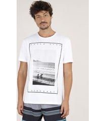 "camiseta masculina praia ""never stop"" manga curta gola careca off white"