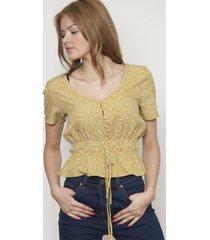 blusa cuello v ajustable amarilla 609 seisceronueve