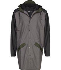 color block long jacket regnkläder grå rains