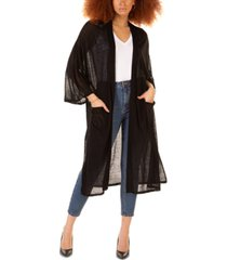 black tape semi-sheer oversized cardigan