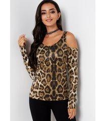 top de leopardo con cuello redondo y hombros descubiertos con cremallera