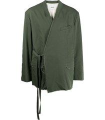 ambush frayed tie-fastening jacket - green