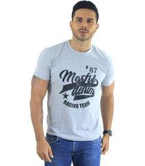 camiseta hombre manga corta slim fit gris marfil racing