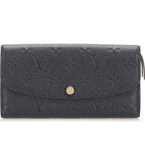 louis vuitton monogram empreinte emilie wallet black sz: