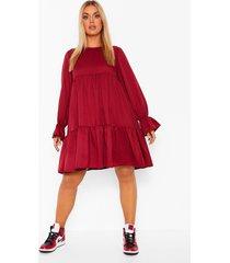 plus geweven gesmokte jurk met laagjes, berry