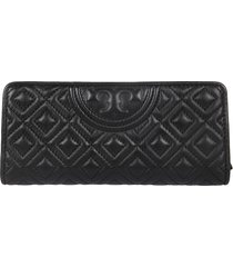 tory burch quilted embossed logo continental wallet