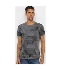 camiseta polo in estampa geométrica masculina