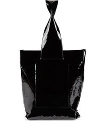 flat leather shopper bag